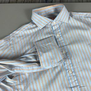 Thomas Pink Dress Shirt Size 15.5-34 Blue Striped
